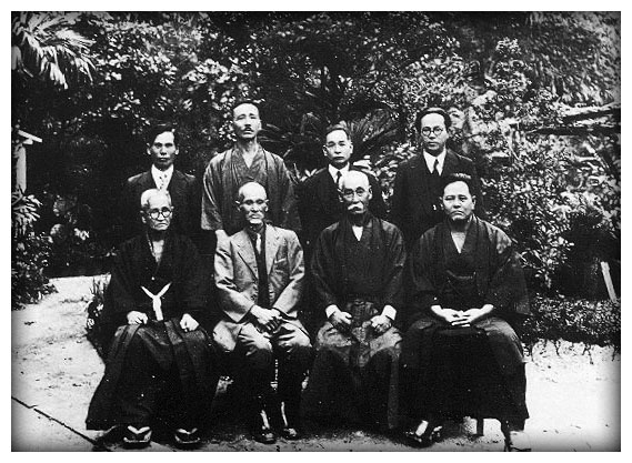 "FOUNDING MEMBERS OF ""KARATE-DO"" ASSOCIATION IN 1937. CHOJUN MIYAGI, CHOMO HANASHIRO, KENTSU YABU, CHOTOKU KYAN GENWA NAKASONE, CHOSHIN CHIBANA, CHORYO MAESHIRO, SHINPAN SHIROMA"